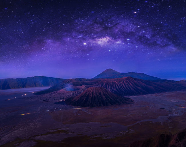 Mountain Beauty In Nature Scenics - Nature Volcano Sky Tranquil Scene Tranquility No People Non-urban Scene Geology Nature Environment Land Landscape Night Astronomy Idyllic Physical Geography Travel Destinations Star - Space Outdoors Mountain Peak Volcanic Crater Power In Nature Bromo