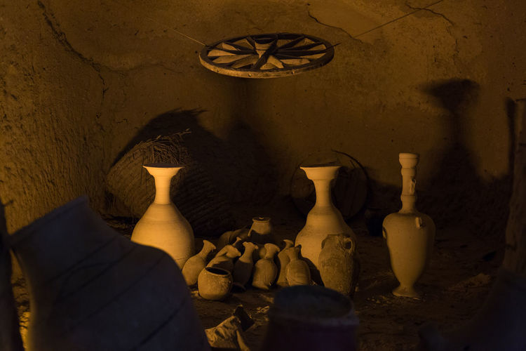 View of pottery in cave