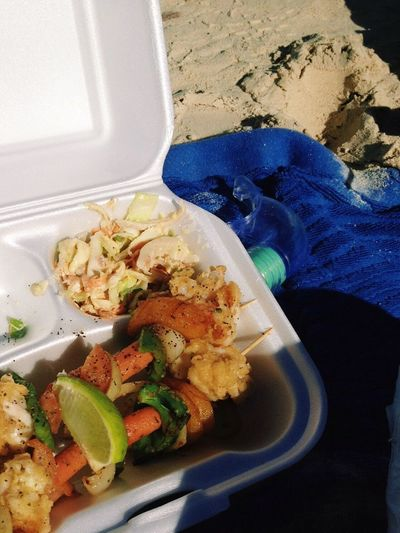 Show Us Your Takeaway! Kebabs Seafoods Veggies SLAW Coleslaw Beach Food Best Seafood I've Ever Eaten Lunch On The Beach Bahamas