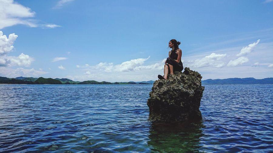 Stranded Stranded Lady Waves, Ocean, Nature Blue Sky Clear Sky Clear Water Water Sea Full Length Oar Blue Sky Cloud - Sky