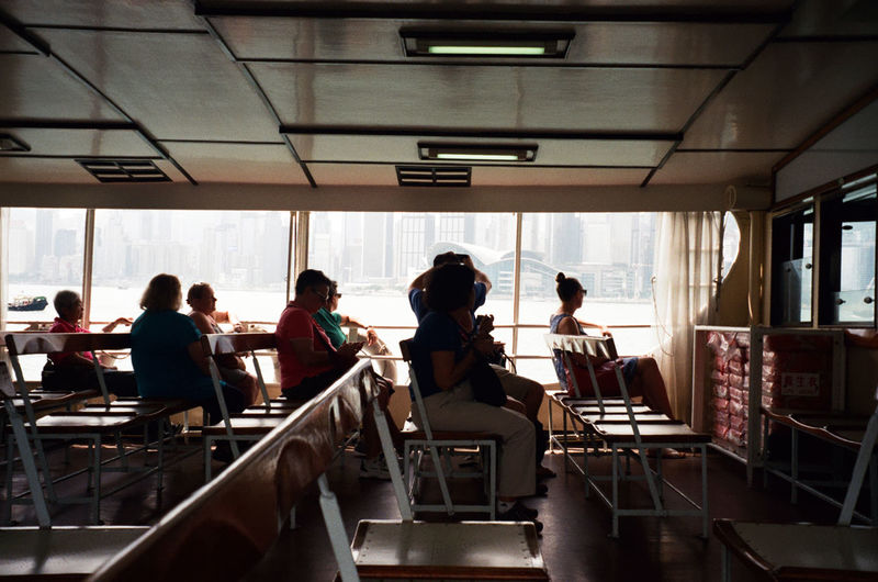 People traveling in passenger craft