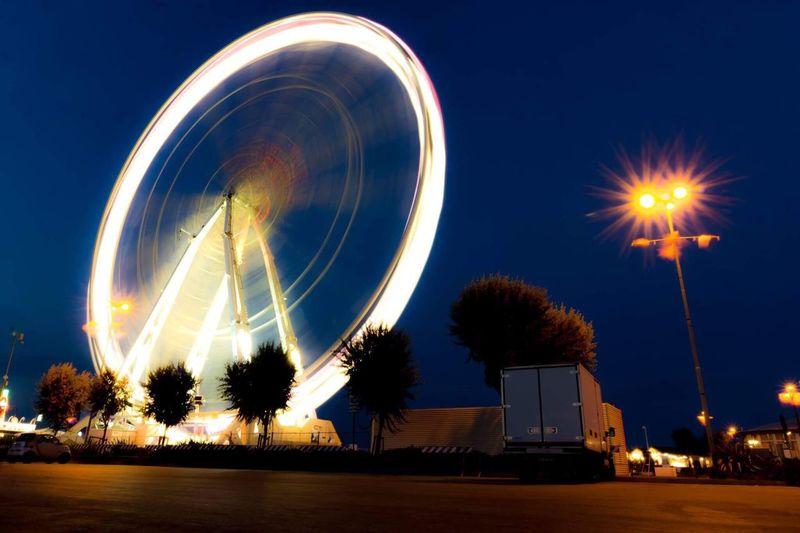 Long Exposure Wheel Rimini Ferris Wheel Night Truck Italy Lights EyeEm Selects