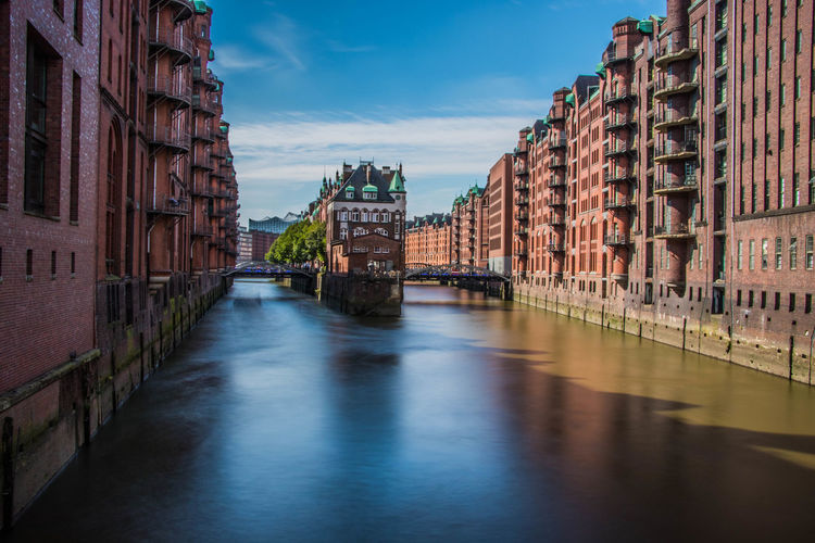 Canal passing through city