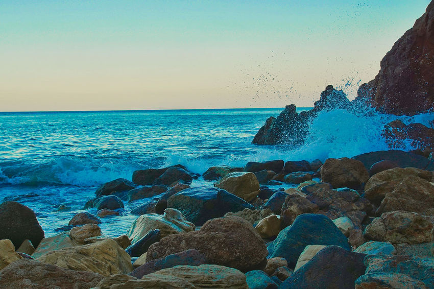 malibu , california Sea Rock - Object Horizon Over Water Beach Nature Water Wave Outdoors No People Beauty In Nature Blue Scenics Sky Sunset Day Clear Sky UnderSea Close-up