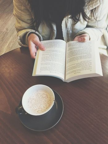 Girl reading a book in a cafe. Cup of coffee and book Book Cafe Cup Coffee Table Reading Girl Studying Library Women