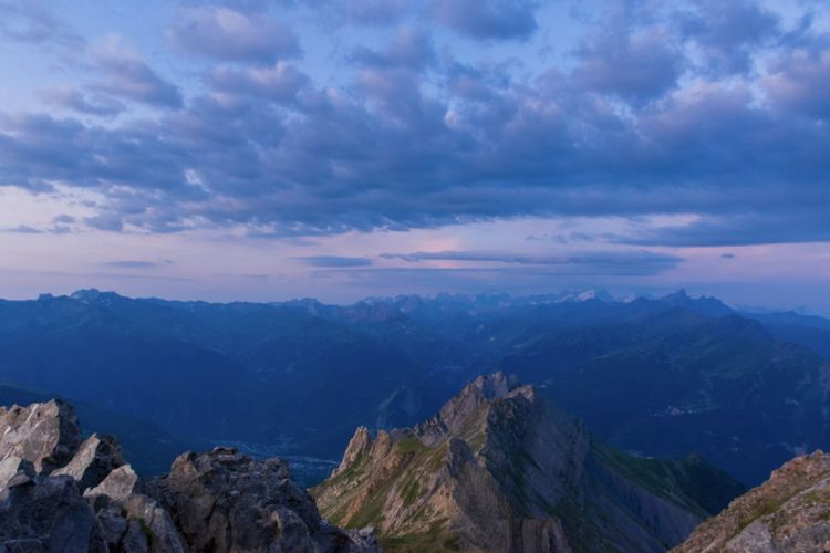 Panoramic view of mountains against sky