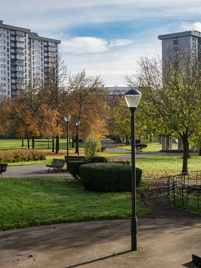 Park in city against sky