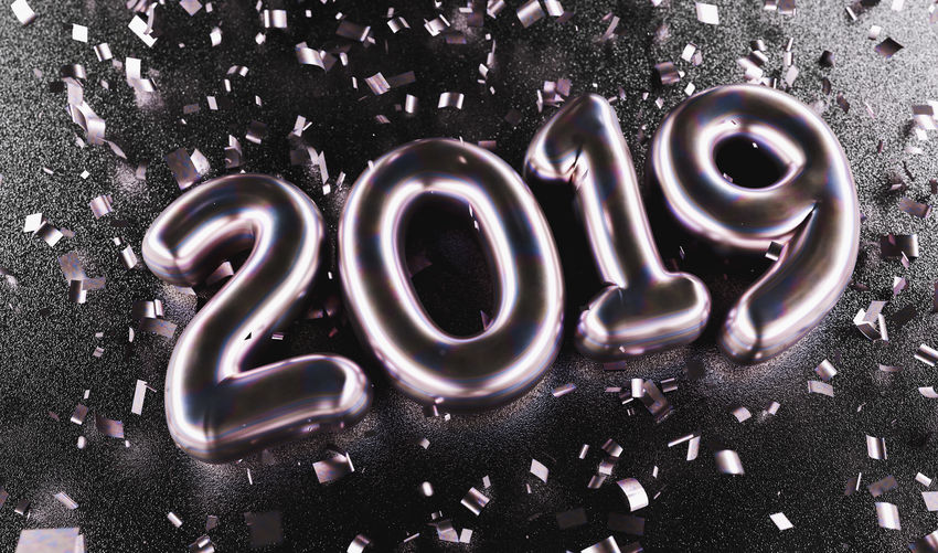 New year 2019 celebration. Silver Purple metallic numeral 2019 and confetti on black background. New Year's Eve, concept image Year Western Script Typography Text Symbol Still Life Silvester Silver  Shiny Shine Season  Sale Purple Promotion Present Positive Emotion Pink Offer Numeral Number No People New Multi Colored Metallic Message Luxury Love Lettering Letter Isolated Indoors  Illuminated Holiday High Angle View Happy Greeting Golden Glossy Glitter Font Flying Fireworks Festive Event Eve Emotion Discount Decoration Congratulations Confetti Communication Close-up Christmas Champagne Celebration Celebrate Capital Letter Calligraphy Calendar Black Banner Balloon Background 2019 2018