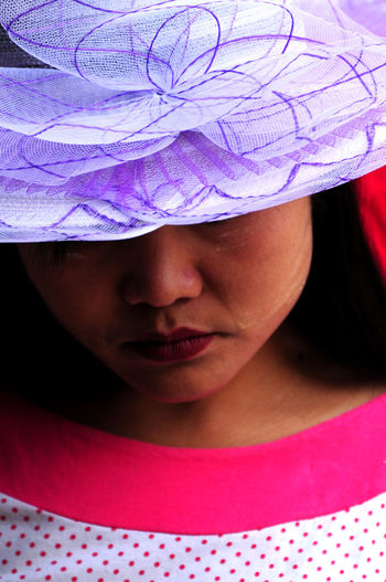 Market Lady In Vietnam Adult Asian Lady Burmese Lady Childhood Close-up Day Fashion Hat Front View Girls Headshot Human Body Part Human Face Indoors  Lady And Hat Lifestyles One Person People Pink Color Real People Young Adult Young Women