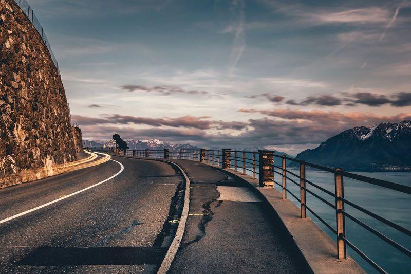 Road Sky Mountain Outdoors Scenics No People Lavaux Lakegeneva  Switzerland EyEmNewHere Long Exposure Lighttrails Landscape_Collection Landscape Photography The Great Outdoors - 2017 EyeEm Awards BYOPaper!