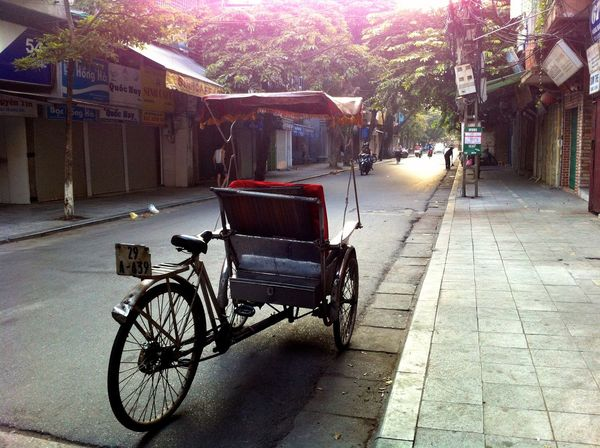 City Street Cyclo Dawn Diminishing Perspective Hanoi, Vietnam Mode Of Transport No People Outdoors Parked Transportation