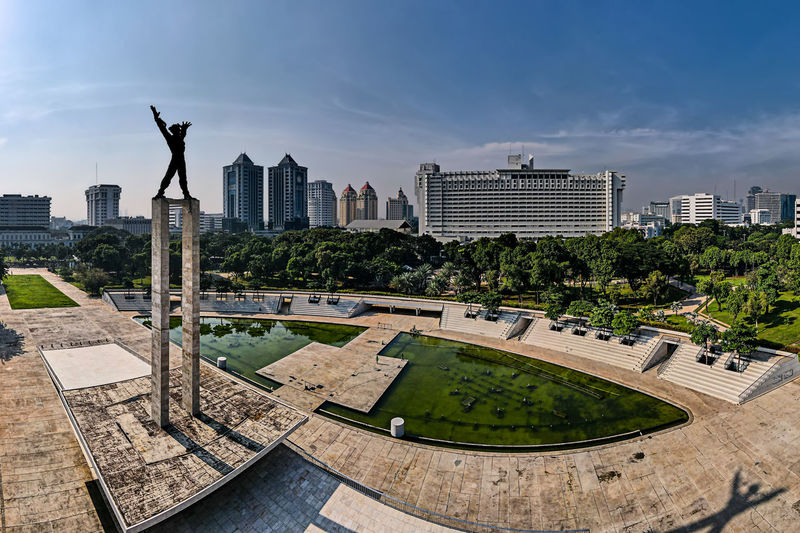 Panoramic view of city buildings against sky