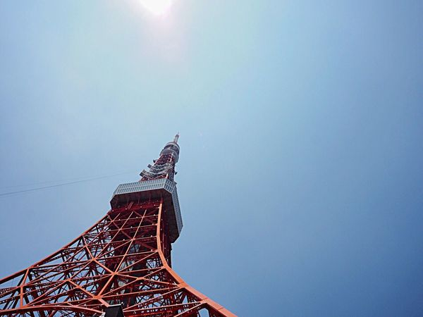 Tokyo Tower🗼 Architecture Low Angle View Built Structure Clear Sky Sky Building Exterior Blue Sky Hot Day Very Hot Today Tokyo Tower 東京タワー Tokyo Landscape Tokyo Photography Tokyo, Japan Tokyo Cityscapes Olympus Om-d E-m10