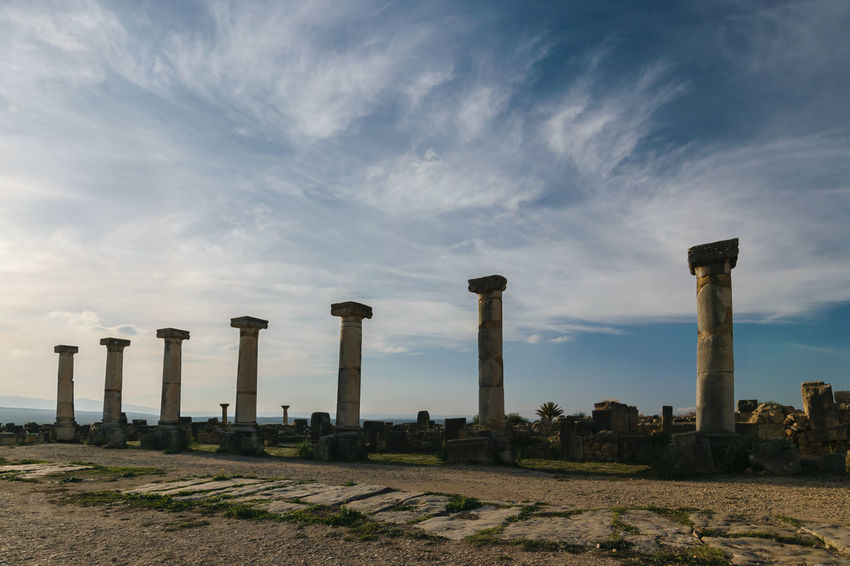 Seven columns at Volubilis on a sunny day with blue sky and few clouds , Morocco. Africa Ancient Arch Archaeological Archictecture Basilica Capitoline Column Culture Empire Gate Heritage Heritage Building Historical Landmark Meknès Morocco Old Oriental Roman Stone Temple Tingis UNESCO World Heritage Site Volubilis