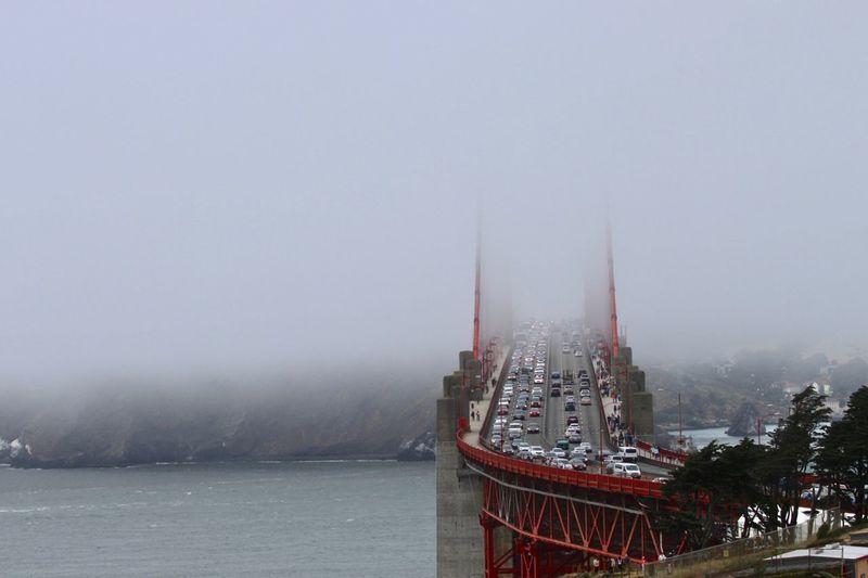 Panoramic view of bay bridge against sky
