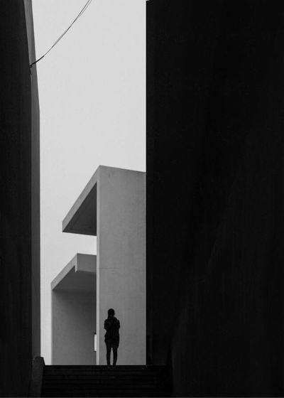 Blackandwhite Architecture Traveling Geometric Shapes Minimalism
