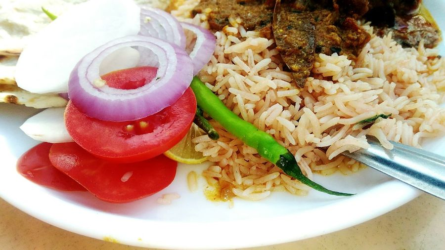 Food Food And Drink Indoors  Ready-to-eat Healthy Eating Freshness No People Red Close-up Day Plate Indian Food Pulao Rice Green Chicken Rice Brown
