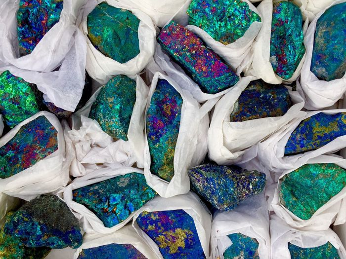 Full Frame Shot Of Colorful Wrapped Rocks