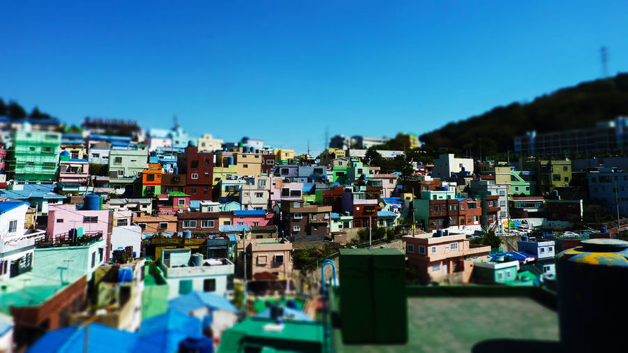 Tilt-shift image of buildings at village