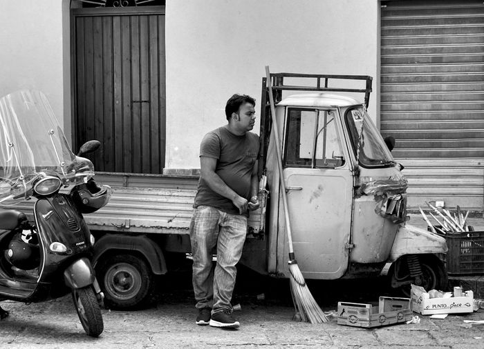 Siesta in Palermo, Sicily, Italy Ape Scooter Man Piaggio Black And White Street Streetphotography Street Photography Pause Siesta Car Standing One Person Transportation Mode Of Transportation Real People