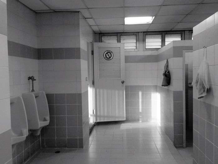 Interior of public toilet