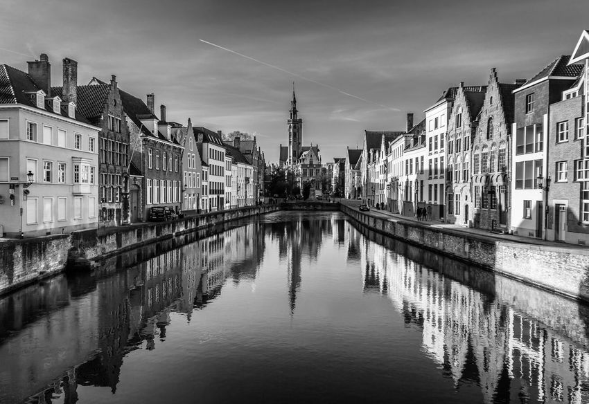 Bruge Reflection Architecture City Cityscape Black And White