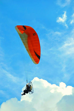 Adventure Airshow Blue Blue Sky Cloud Cloud - Sky Extreme Sports Feel The Journey Flying Freedom Fun Leisure Activity Low Angle View Mid-air Outdoors Paragliding Parasailing Sky