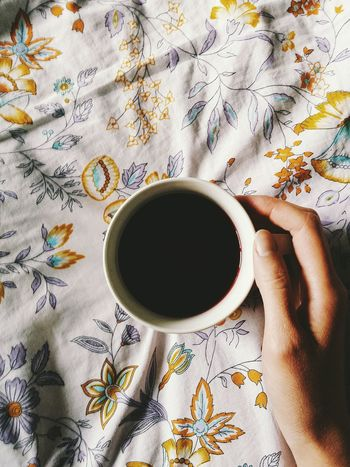 EyeEm Selects EyeEm Best Shots One Person Human Hand Human Body Part Hand Indoors  Body Part Drink Food And Drink Cup Mug Directly Above Floral Pattern Holding Freshness High Angle View Hot Drink Tea Cup Finger Indoors
