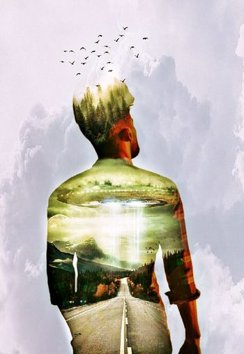 Cloud - Sky Adult Young Adult Artisticselfie Human Face Flying One Person Adults Only Doubleexposure Dreamlike Sky People