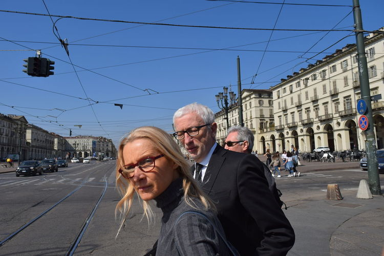 Couple - Relationship Mature Men Outdoors Day Sky Two People Men Males  People Building Exterior City Built Structure Senior Women Eyeglasses  Lifestyles Glasses Street Senior Men Adult Senior Adult Real People Architecture Torino, Italy Turin Italy Turin
