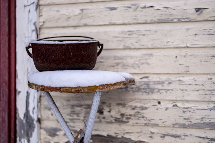Architecture Built Structure Close-up Day Focus On Foreground Iron Iron Pot Metal Pot No People Object Outdoors Pot Snow