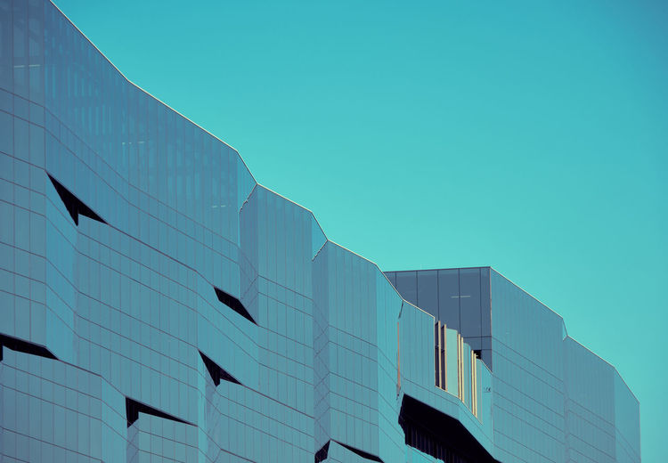 Architecture Built Structure Building Exterior Sky Low Angle View Building Blue Clear Sky Modern City Nature No People Office Building Exterior Day Copy Space Glass - Material Office Outdoors Reflection Sunlight Skyscraper