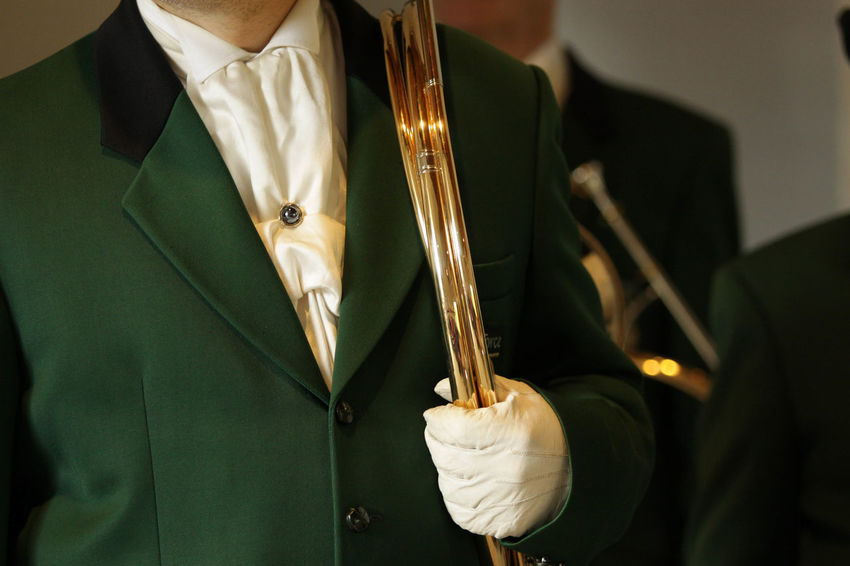 Green Color Close-up Day Gold Colored Hunting Horn Krebserösch Midsection Music Musical Instrument One Person