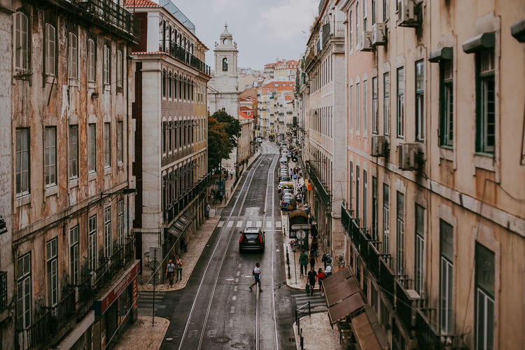 Architecture Built Structure City Transportation Street City Life Day City Street Outdoors Car High Angle View Lisbon Portugal Lifestyles Travel Destinations Tourism Heritage Cityscape