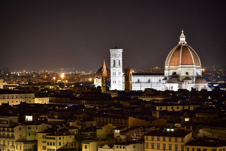 Illuminated duomo santa maria del fiore in city at night