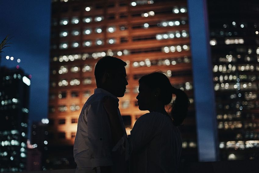 City love Night Romance City Life Nightlife Love Couple City Lights Night Lights Rooftop Photography Roof Top View  Cityscape Affectionate Two People Heterosexual Couple Couple - Relationship Date Night - Romance Dating City