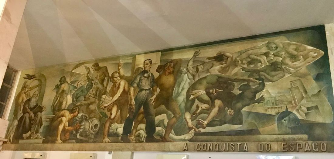 A Conquista do Espaço de Aldo Locatelli Historic Porto Alegre Italian Painter Airport Art Pannel Aldo Locatelli Painting Creativity Indoors  Travel Destinations Craft Mural