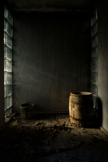 Barrel in abandoned room