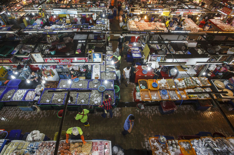 High angle view of toys for sale in market