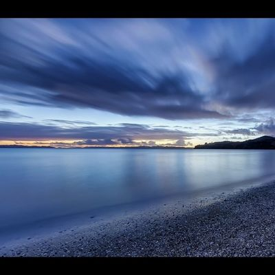 Autumn twilight on the Tamaki Strait. Newzealand Landscape Aoteoroa Twilight photography longexposure