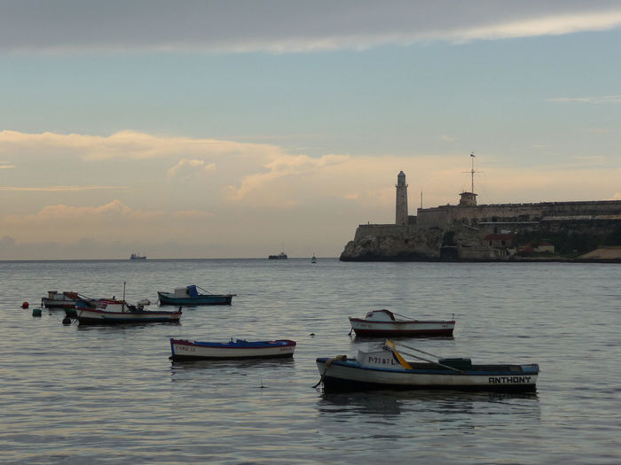 Havana harbour waterside, Cuba Architecture Beauty In Nature Building Exterior Built Structure Cloud - Sky Cuba Day Evening Havana Havana Harbour Malecon Mode Of Transport Moored Nature Nautical Vessel No People Outdoors Scenics Sea Sky Sunset Transportation Water Waterfront