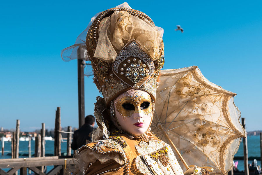 Arts Culture And Entertainment Blue Clear Sky Day Mask - Disguise Outdoors Sky The Portraitist - 2017 EyeEm Awards Tradition Venetian Mask