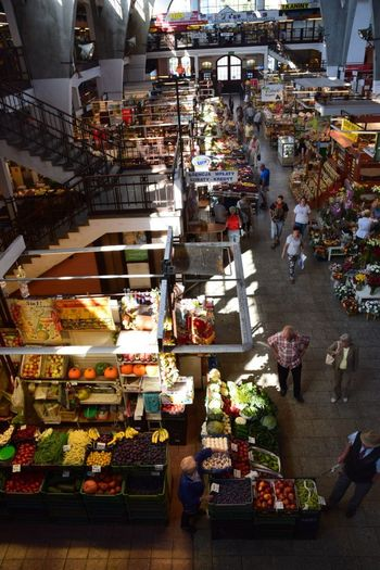 A Bird's Eye View Fruitmarket Market Colorful High Angle View Market Stall in Wroclaw, Poland