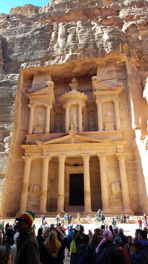 The Amazing Treasury In Historic Petra Architecture Large Group Of People Travel Destinations Built Structure History Real People Religion