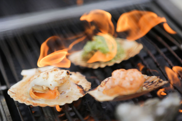 Close-up of scallops on barbecue grill