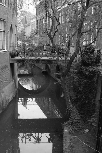 Arch Architecture Bikes Black And White History Netherlands Old Utrecht , Netherlands Water Reflections