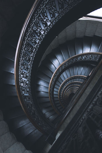 Directly above shot of spiral staircase of building