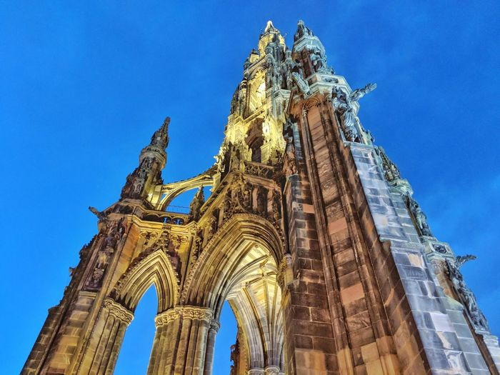 Edinburgh Scotland Cityscapes Travel Scottsmonument Religion Place Of Worship Low Angle View Architecture Spirituality Built Structure Travel Destinations No People Outdoors Building Exterior