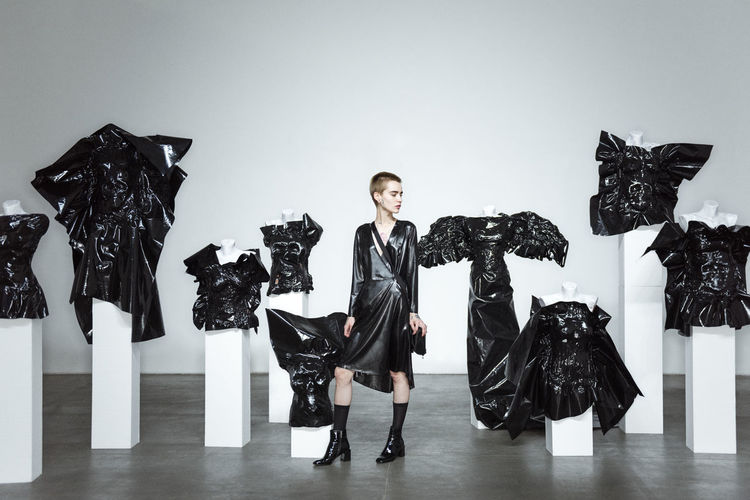 The Gallery Fashion Black Dress Latex Dress  Podium Stage Short Hair Model High Heels Concrete White Wall The Look Collection Linas Was Here