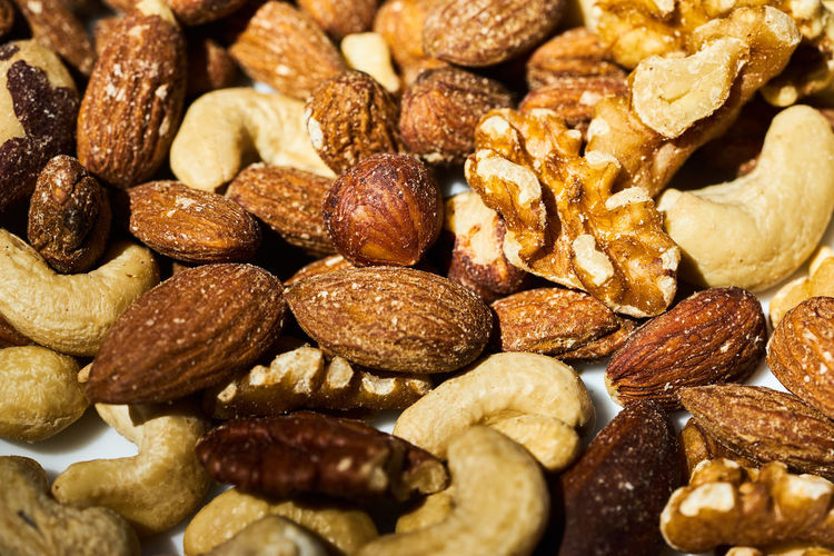 Full frame shot of salted nuts